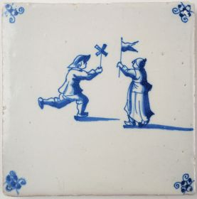 Antique Delft tile with two children playing, 17th century