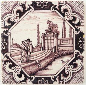 Antique Delft landscape tile, 18th century