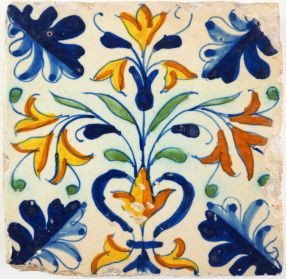 Antique Delft tile with polyvhrome flowers, 17th century