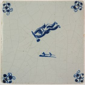 Antique Delft tile with Cupid, 17th century