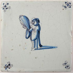 Antique Delft tile with Martin Luther, 17th century