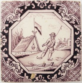 Antique Delft tile with an ice skater, 19th century