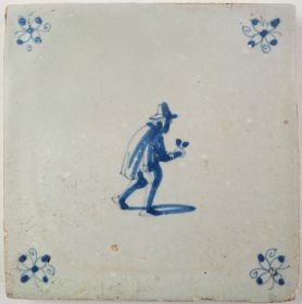 Antique Delft tile with a spectacles pedlar, 17th century