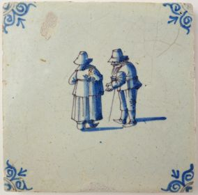 Antique Delft tile with an older couple, 17th century