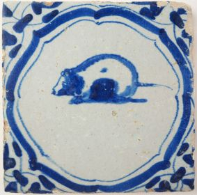 Antique Delft tile with a rat, 17th century