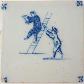 Antique Delft tile with acrobats, 18th century