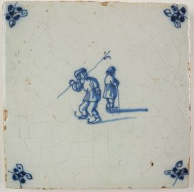 Antique Delft tile with an ice skater, 17th century