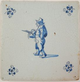 Antique Delft tile with a man wearing repaired cloths, 17th century