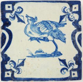 Antique Delft tile with an emu, 17th century
