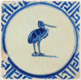 Antique Delft tile with a stork, 17th century