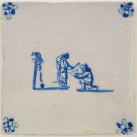 Antique Delft tile with two children shooting a bow and arrow, 17th century