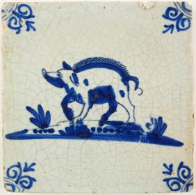 Antique Delft tile with a swine, 17th century