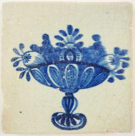 Antique Delft tile with a fruit bowl, 17th century