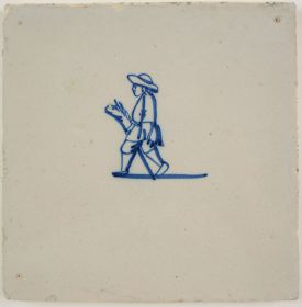 Antique Delft tile with a child playing with a hobby horse, 18th century