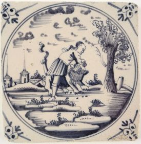 Antique Delft tile with Simson slaying the lion, 18th century