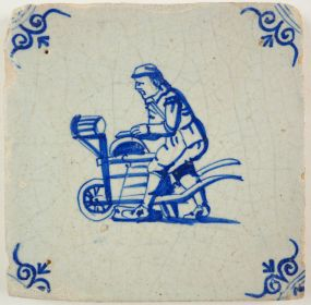 Antique Delft tile with a knife grinder, 17th century