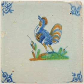 Antique Delft tile with a rooster, 17th century