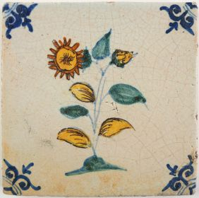 Antique Delft tile with a Geum flower, 17th century