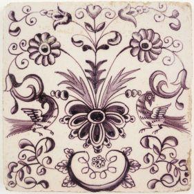 Antique Delft tile with a flower ornament, 18th century