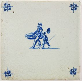 Antique Delft tile with two fishermen, 17th century