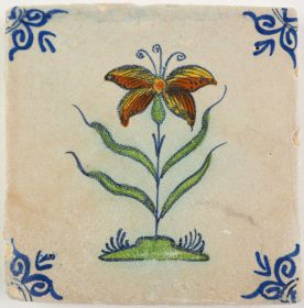 Antique Delft tile with a flowering Iris, 17th century