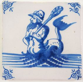 Antique Delft tile with a merman, 17th century