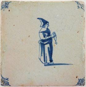 Antique Delft tile with a monk, 17th century