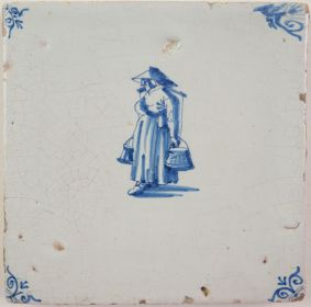 Antique Delft tile with a woman carrying a yoke, 17th century