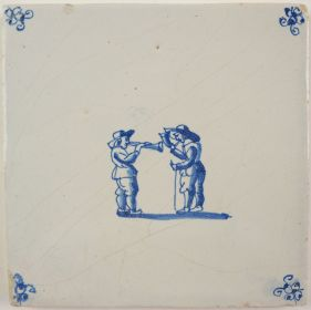 Antique Delft tile with two musicians, 17th century