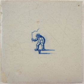 Antique Delft tile with a child playing with a spinning top, 17th century
