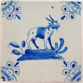 Antique Delft tile with a goat, 17th century