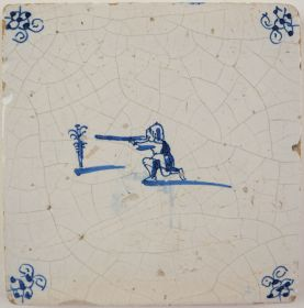 Antique Delft tile with a target shooting scene, 17th century