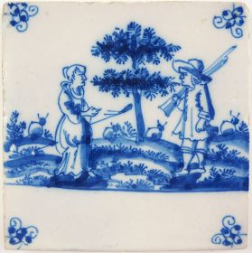 Antique Delft tile with two shepherds, 18th century