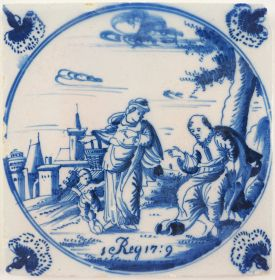 Antique Delft tile with Elijah and the Widow of Zarephath, 18th century