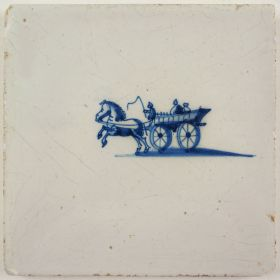 Antique Delft tile in blue with a carriage, 17th century