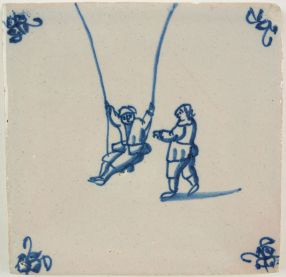 Antique Delft tile with two children on a swing, 18th century