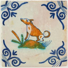 Antique Delft tile with a dog, 17th century