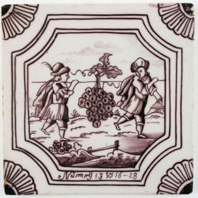Antique Delft tile with the grapes of Canaan, 18th century
