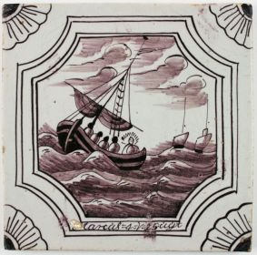 Antique Delft tile with Jesus calming the storm, 18th century