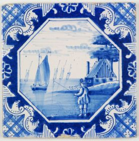 Antique Delft tile with a fisherman, 19th century