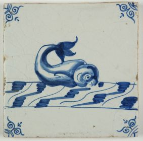 Antique Delft tile with a dolphin in blue, 17th century