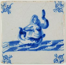 Antique Delft tile with a mermaid, 17th century