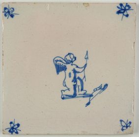 Antique Delft tile with Cupid, 18th century