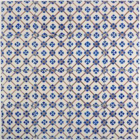 Antique Delft wall tile with checkered diamonds, 19th century