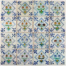 Antique Delft wall tiles with Fritillaria, 17th century