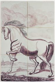 Antique Delft tile mural with a stallion, 19th century