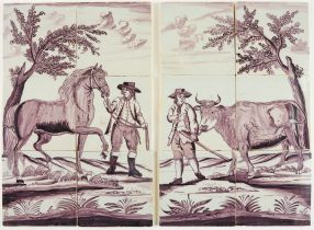 Set of Delft tile murals with a cow and a horse, 18th century