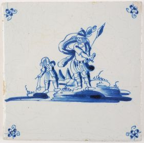 Antique Delft Biblical tile depicting David versus Goliath, 18th century