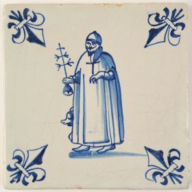 Antique Delft Biblical tile in blue depicting Anthony the Great with pig and hermits staff, 17th century