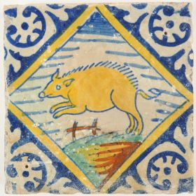 Antique polychrome Delft tile with a swine in a diamond square, late 16th century
